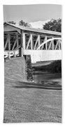 Halls Mill Covered Bridge Landscape Black And White Beach Towel