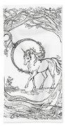 Haloed Unicorn In The Woods Beach Towel
