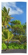 Hana Palm Tree Grove Beach Towel by Inge Johnsson
