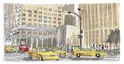 Hand Drawn Sketch Of A Busy New York City Street Beach Towel