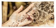 Hand Of A Woman Catching Water Stream Beach Towel