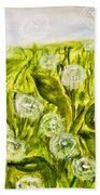 Hand Painted Picture, Meadow With White Dandelines Beach Towel