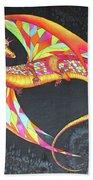 Hand Painted Silk Scarf Dragon On Black Beach Towel