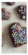 Handmade Decorated Gingerbread Heart And People Figures Beach Towel