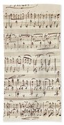 Handwritten Score For Waltz For Piano, Opus 39 Beach Towel