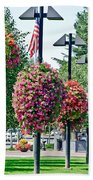 Hanging Flower Baskets In A Park Beach Towel