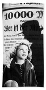 Hanna Maron And The Shadow Of Peter Lorre In M  1931 Beach Towel