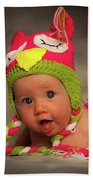 Happy Baby In A Woollen Hat Beach Towel