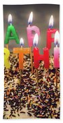 Happy Birthday Candles Beach Towel