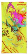 Happy Birthday Lilac Breasted Roller Abstract Beach Towel