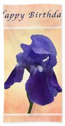 Happy Birthday Purple Iris Beach Towel