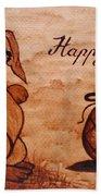 Happy Easter Coffee Painting Beach Towel
