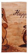 Happy Easter Coffee Painting Beach Sheet