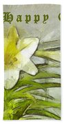 Happy Easter Lily Beach Towel