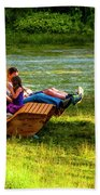 Young Family Enjoying The Swiss Country Side Beach Towel