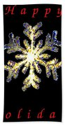 Happy Holiday Snowflakes Beach Towel