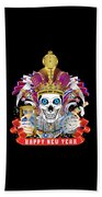 Happy New Year King Of Time Beach Towel