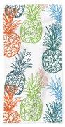 Happy Pineapple- Art By Linda Woods Beach Towel