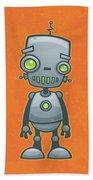 Happy Robot Beach Towel by John Schwegel