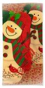 Happy Snowmen Beach Towel
