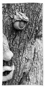 Happy Tree In Black And White Beach Towel