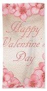 Happy Valentine Pink Heart Beach Towel