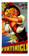 Happy Woman With Flowers, Festival In Ventimiglia, Italy Beach Towel
