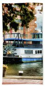 Harbor Park Ferry 5 Beach Towel by Lanjee Chee