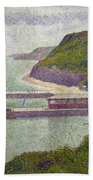 Harbour At Port En Bessin At High Tide Beach Towel