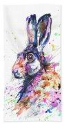 Hare In Grass Beach Towel