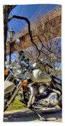 Harley Davidson And Brooklyn Bridge Beach Towel
