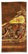 Harley Davidson Classic Bike, Original Golden Art Print For Man Cave Beach Towel