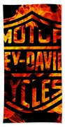 Harley Davidson Logo Flames Beach Sheet