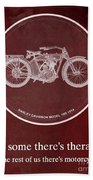 Harley Davidson Model 10b 1914 For Some There's Therapy, For The Rest Of Us There's Motorcycles, Red Beach Towel