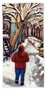 Winter Walk After The Snowfall Best Montreal Street Scenes Paintings Canadian Artist Paysage Quebec Beach Towel