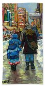 Exceptional Canadian Artist Winter Scene Paintings Downtown Montreal Achetez Scenes De Quebec  Beach Towel