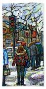 Buy Best Original Canadian Winter Scene Art Downtown Montreal Paintings Achetez Scene De Rue Quebec  Beach Towel