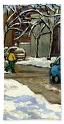 Canadian Artist Winter Scenes Original Paintings Quebec Streets Achetez  Montreal Art Online Beach Towel