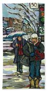 Best Canadian Winter Scene Paintings Original Montreal Art Achetez Scenes De Quebec Cspandau Beach Towel