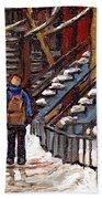Canadian Art Winter Streets Original Paintings Verdun Montreal Quebec Scenes Achetez Les Meilleurs Beach Towel