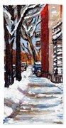 Canadian Winter Scene Paintings Original Art Verdun Montreal Achetez  Paysages De Quebec C Spandau Beach Towel