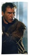 Harrison Ford As Rick Deckard A Blade Runner  In Blade Runner 1982 Beach Towel