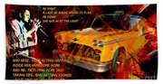 Harry Chapin Taxi Song Poster With Lyrics Beach Towel
