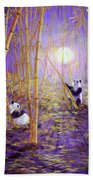 Harvest Moon Pandas  Beach Towel