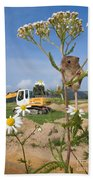 Harvest Mouse And Backhoe Beach Towel