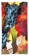 Harvest Time Grapes And Leaves Beach Towel
