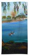 Harveston Lake Geese Beach Towel