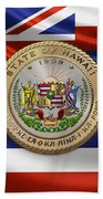 Hawaii Great Seal Over State Flag Beach Towel