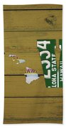 Hawaii State Love License Plate Art Phrase Beach Towel