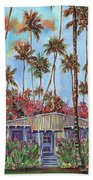 Hawaiian Cottage With Pink And Red Tropical Flowers Beach Sheet